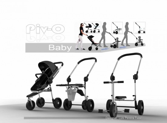 Piv-O baby gyerekkel együtt növő, multifunkciós babakocsi, tricikli